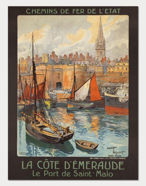 Affiche Chemins de fer de l'Etat - La Côte d'Emeraude, Le Port de Saint-Malo