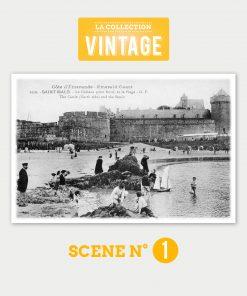 Saint-Malo, le Château et la plage - Collection Vintage