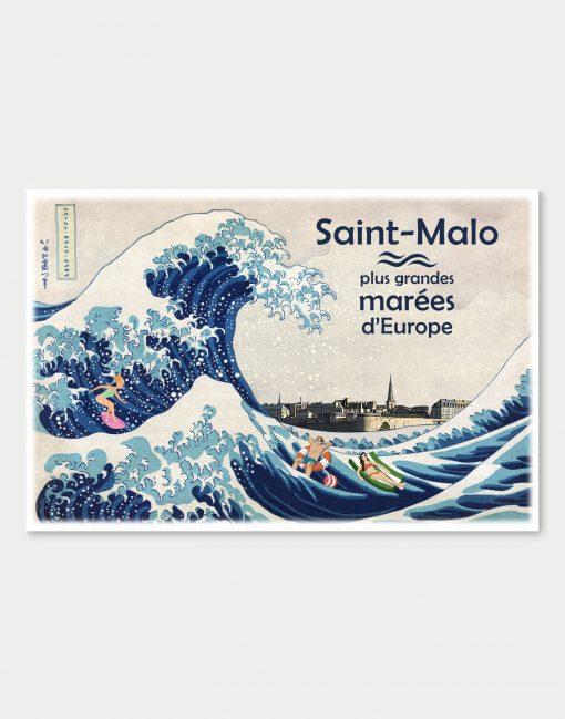 Affiche Saint-Malo - Plus grandes marées d'Europe, pastiche de l'estampe La grande vague de Kanagawa du peintre japonais Hokusai